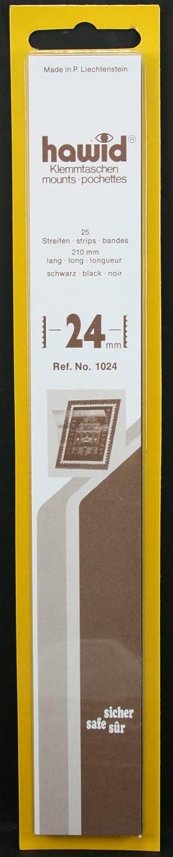 Hawid - Confezione da 25 taschine per francobolli, 210 x 24 mm, colore: nero
