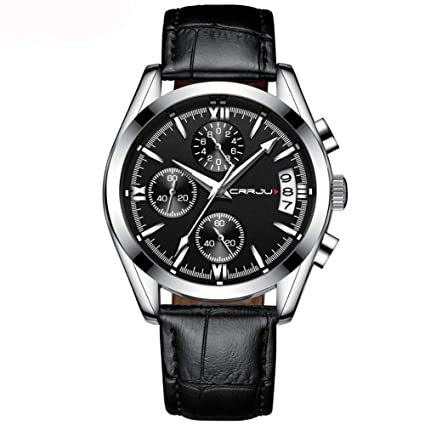 CRRJU Hombres Relojes Militares Reloj De Cuarzo Para Hombre Con Esfera Negra Impermeable De La Correa