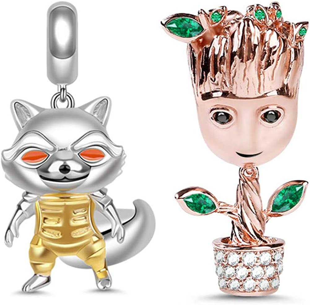 GNOCE 2Pcs Charm Set Sterling Silver Earth Protector Groot & Rocket Raccoon Charm Pendant Sets Fit Bracelet/Necklace Christmas Jewelry Charm Gift for Women Mens