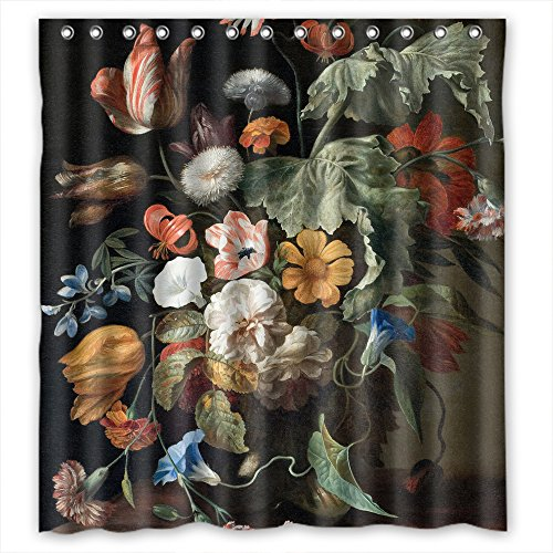 ZEEZON Famous Classic Art Painting Flowers Blossoms Christmas Shower Curtains Polyester Best For Gf Kids Girl Artwork Husband Custom. Easy Clean Width X Height / 72 X 72 Inches / W H 180 By 180 Cm
