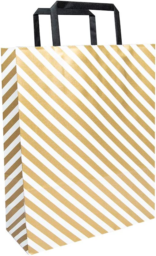 Paper Bag with Handles (100 Pcs Bulk) with Modern and Simple Patterns - Shopping, Party, Wedding, Gift, Food Service, Multi Purpose (Gold LINE/M Size)
