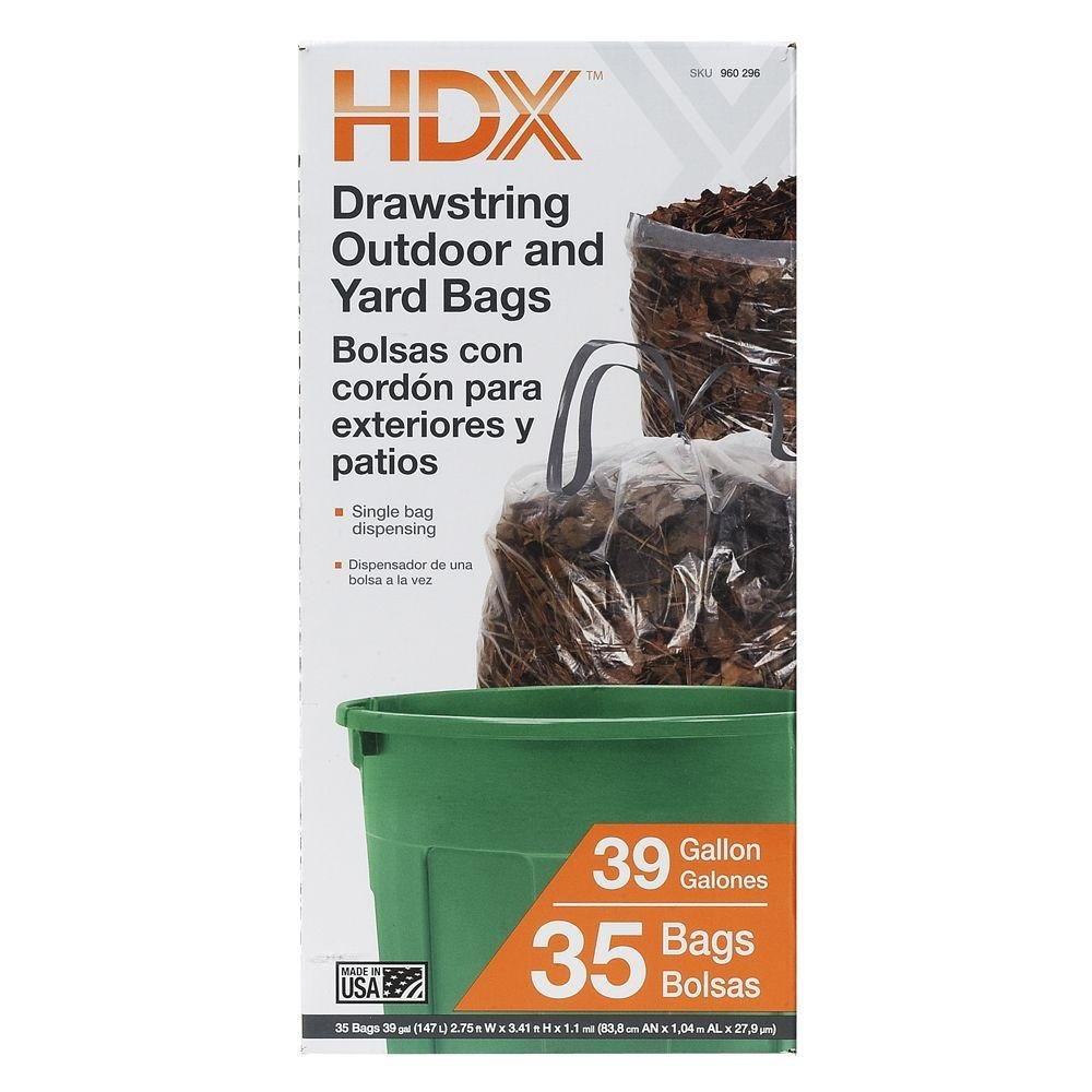 39 gal. Drawstring Outdoor and Yard Bag (35-Count) by HDX