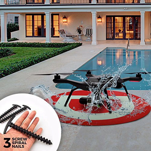 Large Drone Landing Pad - Lightweight Foldable Waterproof 30 Inch Round Excellent To Improve Your Landing Skills With Phantom Solo Mavick and Much More. Includes 3 Free Large Spikes
