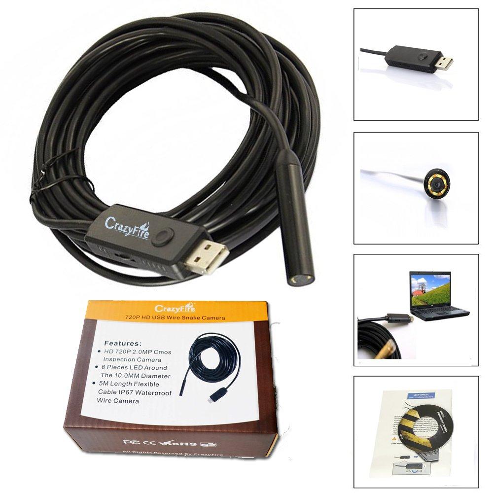 Crazyfire 2.0Mp Hd 720P Coms 6 Leds Usb Snake Inspection Camera Pipe Locator .. 12