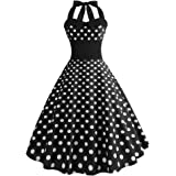 007XIXI Vintage Dresses for Women 1940S,Women Vintage Printing Bodycon Sleeveless Casual Evening Party Prom Swing Dress