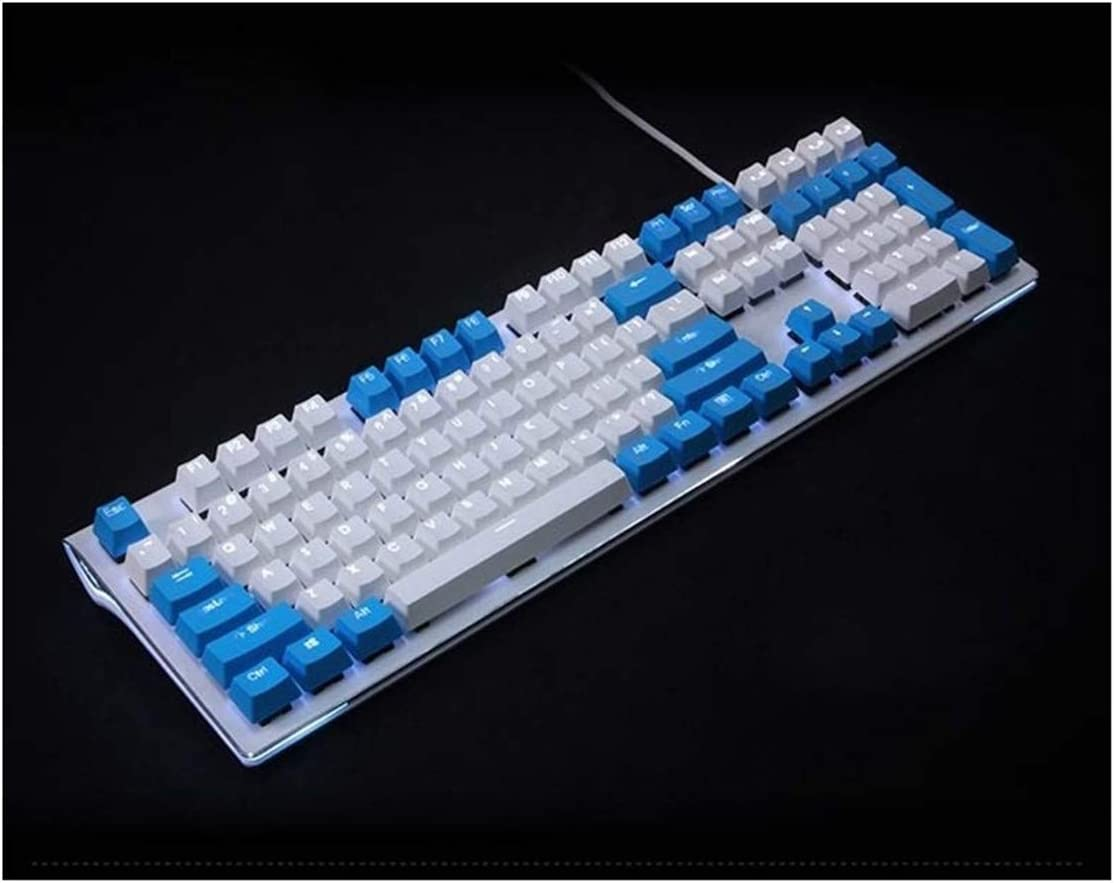 Color : Blue White Mixed Keyboard keycaps Printed Double Shot PBT Shine Through Translucent 108 Key Profile Keyset for Switches Mechanical Keyboard