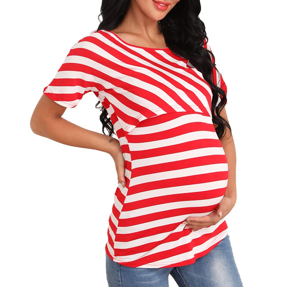 Giorzio Women Maternity Nursing Tee Shirt Short Sleeve Double Layer Breastfeeding Tops S-XXL