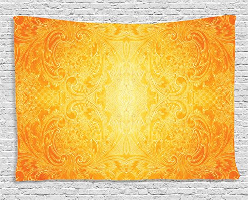 Ambesonne Yellow Tapestry, Victorian Style Antique Pattern with Ornamental Flourish Vintage Design Illustration, Wall Hanging for Bedroom Living Room Dorm, 80 W X 60 L inches, Marigold by Ambesonne