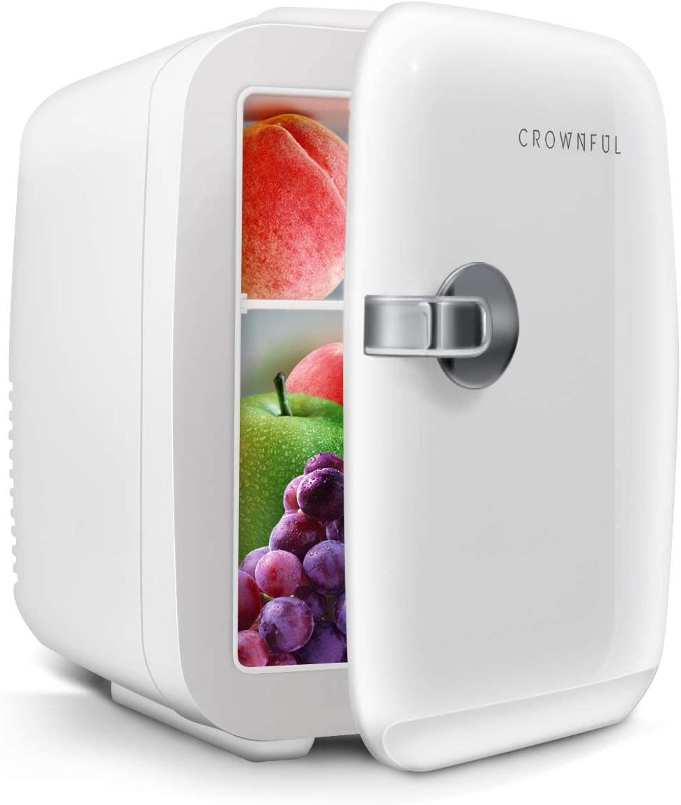 CROWNFUL Mini Fridge, 4 Liter/6 Can Portable Cooler and Warmer Personal Fridge for Skin Care, Cosmetics, Food, Medications, Great for Bedroom, Office, Car, Dorm, ETL Listed (White)