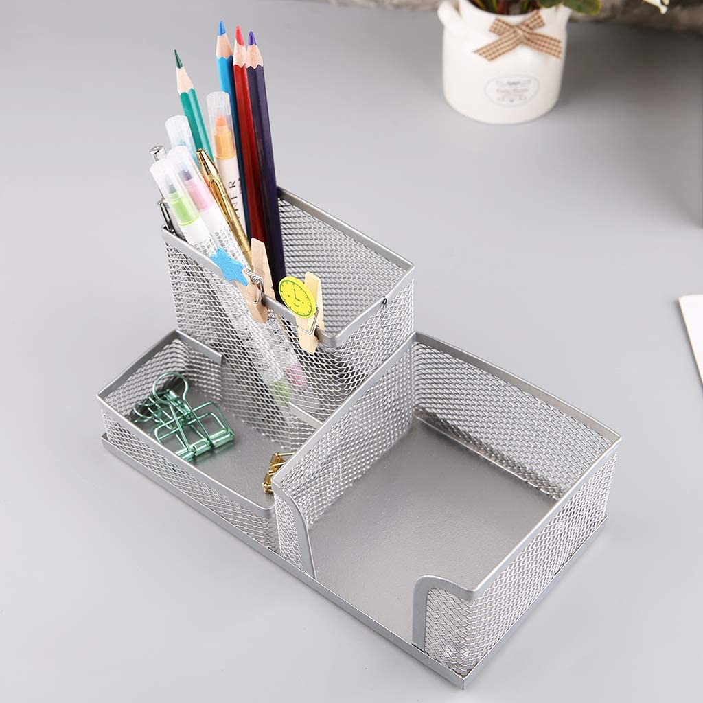 Dsxnklnd Metal Mesh Desk Organizer Pen Holder with 3 Compartments for Home Office Students Supplies Storage