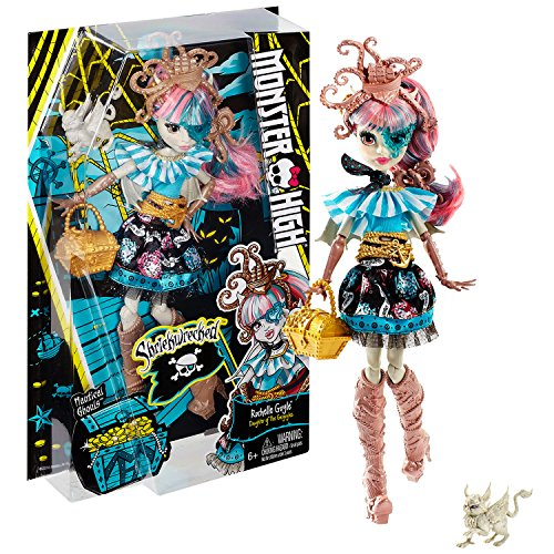 Mattel Year 2016 Monster High Shriekwrecked Nautical Ghouls Series 11 Inch Doll Set - Daughter of the Gargoyle ROCHELLE GOYLE with Pet Roux and Purse