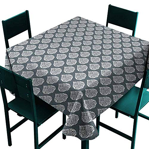 (Sunnyhome Square Tablecloth Damask Royal Renaissance Influences in Antique Style Pattern with Repeating Motifs High-end Durable Creative Home 36x36 Inch Charcoal Grey White)