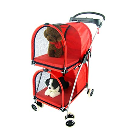 NAUY- Carrito Doble para Mascotas Carrito para Mascotas y Carro de Perro Plegable de Dos