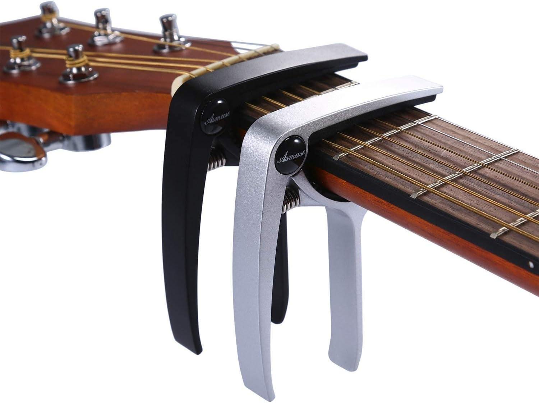 Asmuse Trigger Cejilla Guitarra Capo Española Electrica Acustica Folk Ukelele Bajo instrumento guitar Capo Ligero Aleación de Aluminio con 6 selecciones guitarra-2 piezas
