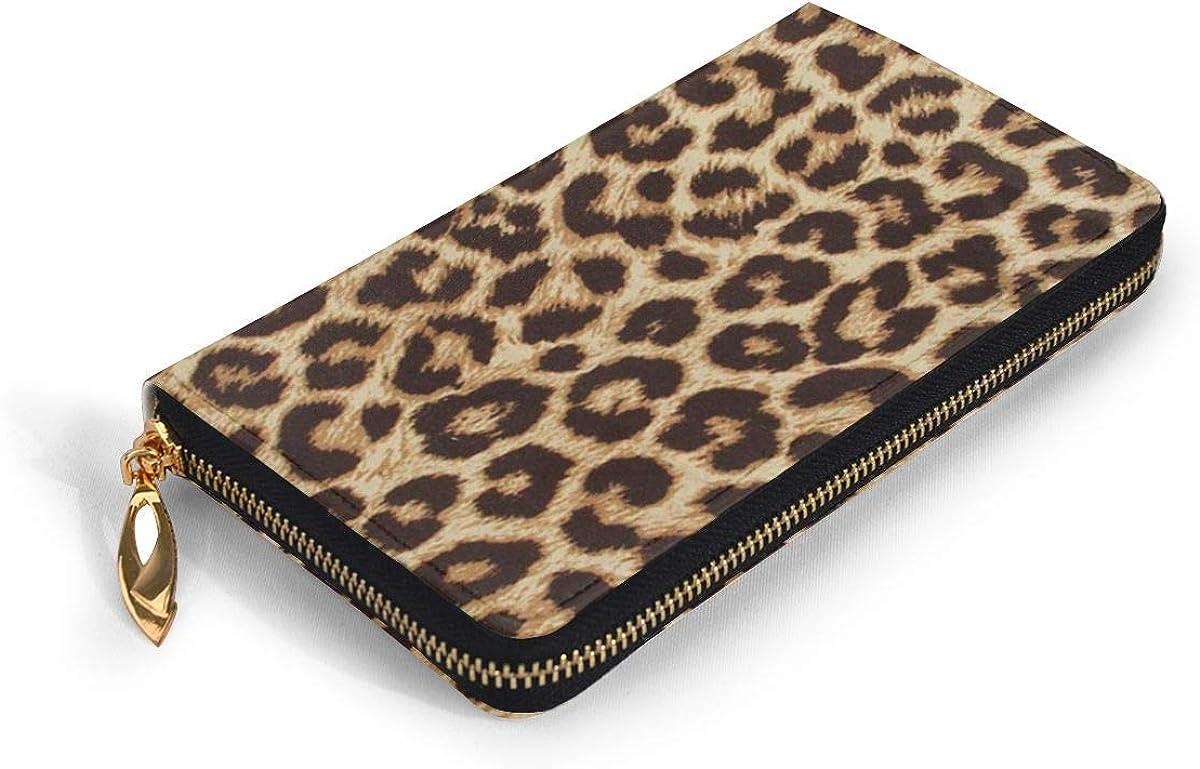 Leopard Grain Womens RFID Blocking Zip Around Wallet Genuine Leather Clutch Long Card Holder Organizer Wallets Large Travel Purse