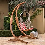 Great Deal Furniture Gina Outdoor Teak Finish Larch Wood Hammock Chair with Orange, Red, Brown Striped Water Resistant Fabric Swing