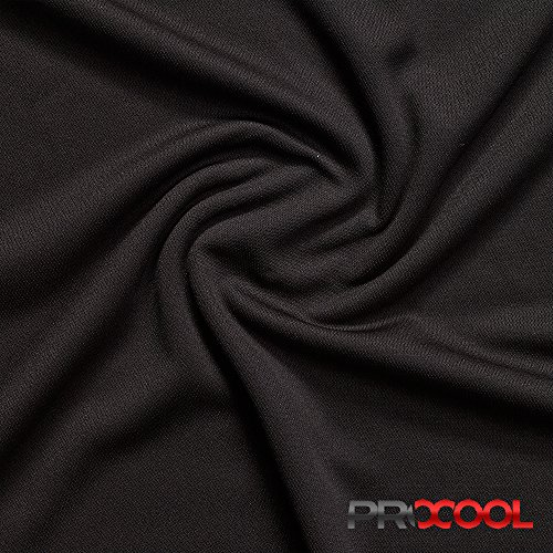 ProCool Athletic Pique Mesh Silver Antimicrobial Fabric with SILVADUR (Made in USA, Black, sold by the (Polyester Antimicrobial)