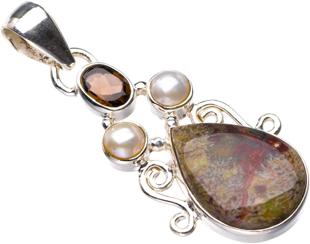 StarGems D6089 - Colgante de plata de ley 925 natural de ágata de penacho, cuarzo ahumado y perla de río hecho a mano