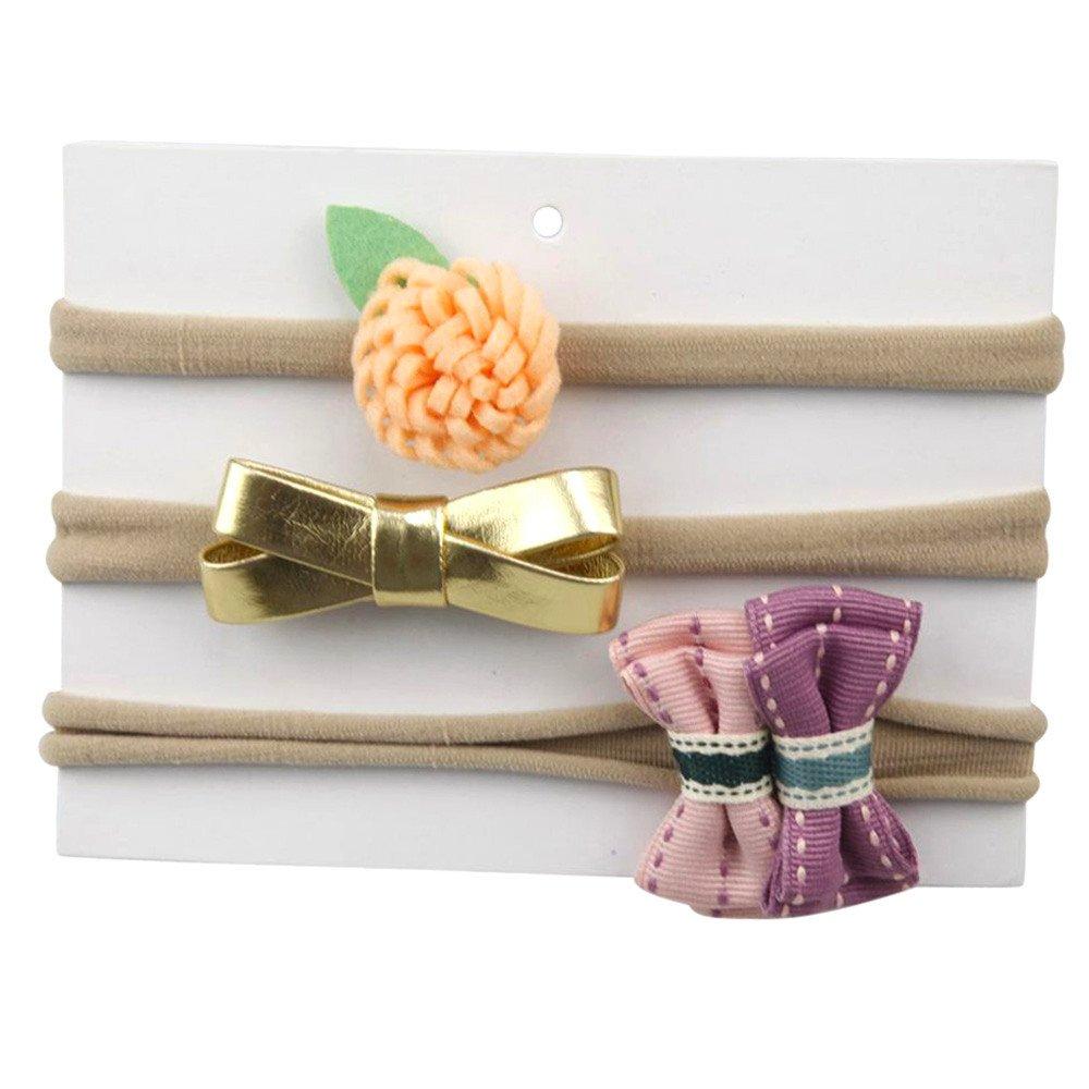 SUPPION 3Pcs Kids Elastic Floral Headband Hair Girls baby Bowknot Hairband Set