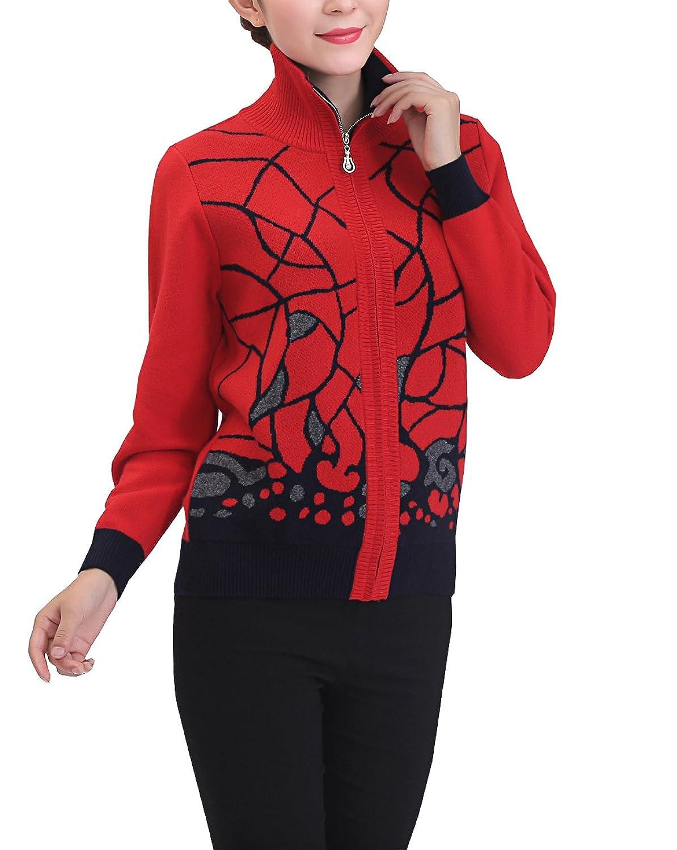 METERDE Women's Knitwear Embroidered Zip Up Slim Fit Cashmere Cardigan