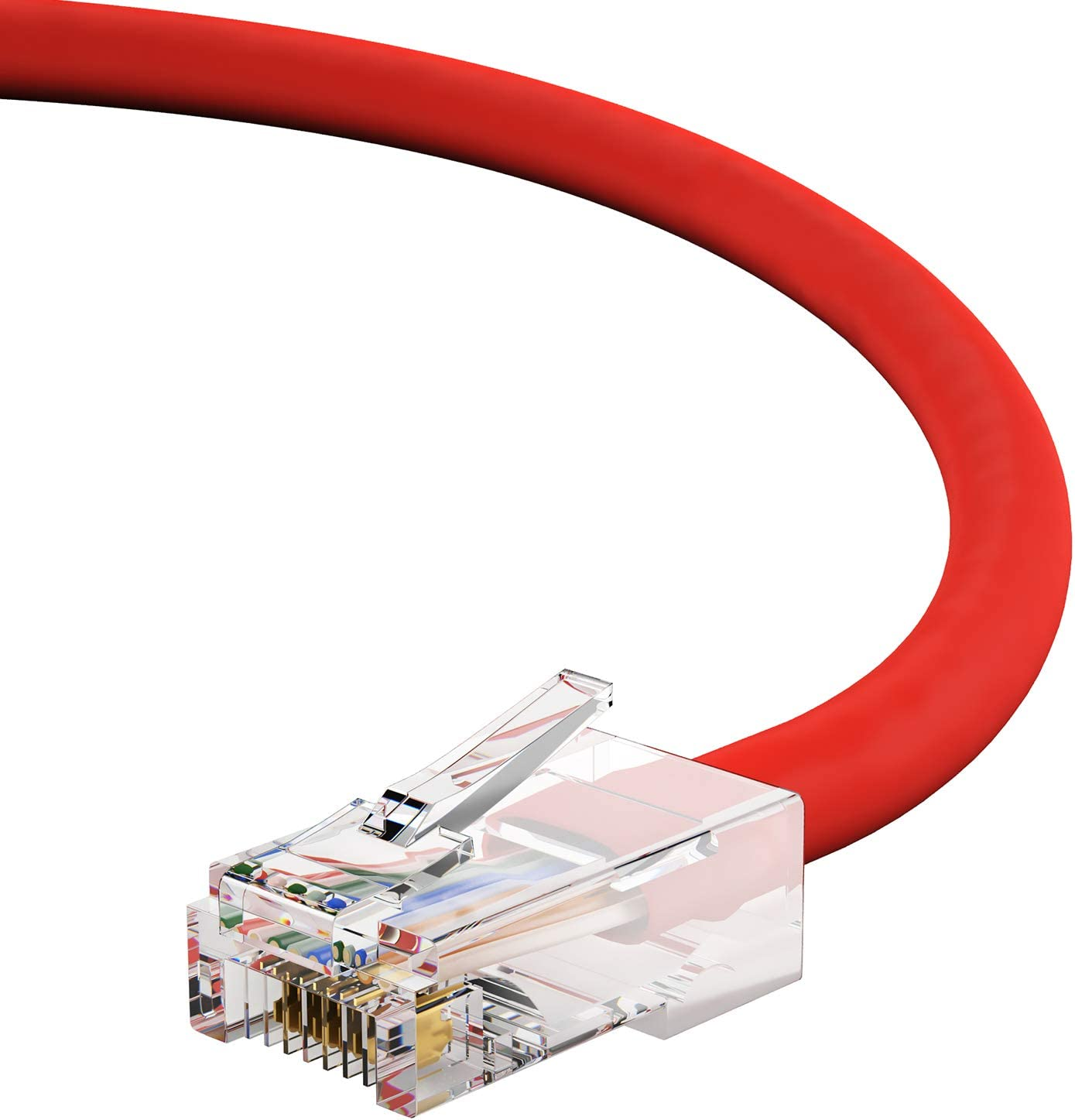 1Gigabit//Sec High Speed LAN Internet//Patch Cable 24AWG Network Cable with Gold Plated RJ45 Non-Booted Connector 350MHz 10-Pack - 7 Feet Red GOWOS Cat5e Ethernet Cable