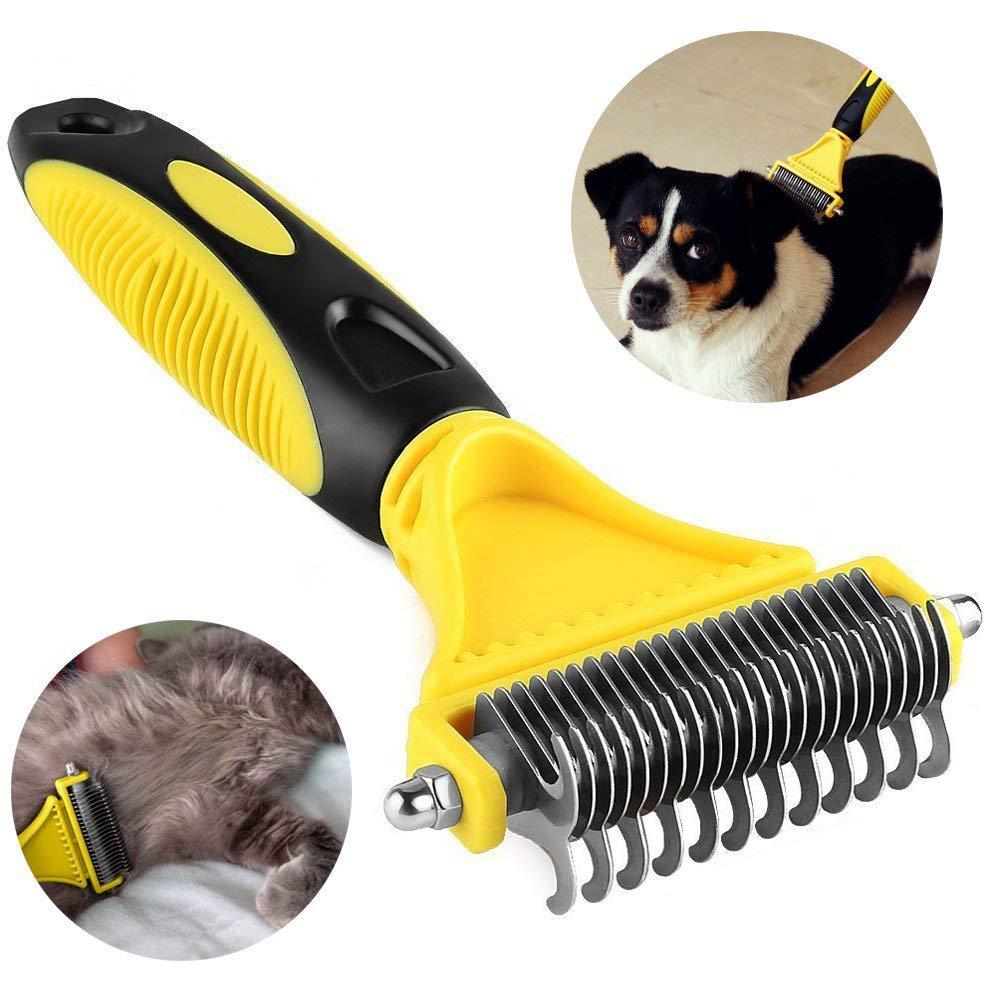 WYQWAN Dog Dematting Comb, Pet Grooming Brush Deshedding Tool 23+12 Double Sided Teeth Undercoat Rake, Dog or for Small, Medium, Large Dogs