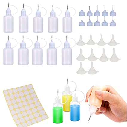 10 Pieces 30ml LEOBRO Precision Tip Applicator Bottle 1 Ounce Empty Applicator Glue Bottle for Paper Quilling DIY Craft