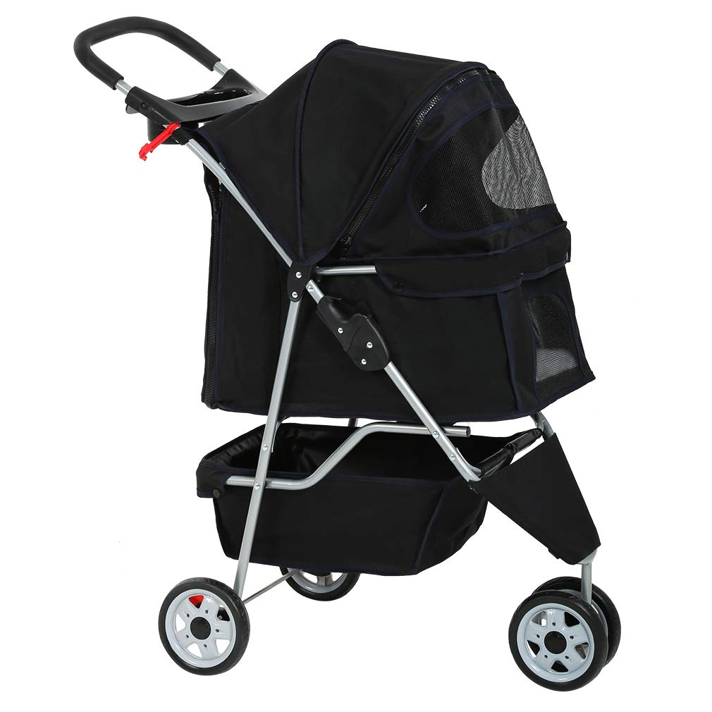 Dog Stroller Pet Stroller Cat Stroller for Medium Small Dogs Foldable Travel 3 Wheels Waterproof Puppy Stroller,Multiple…