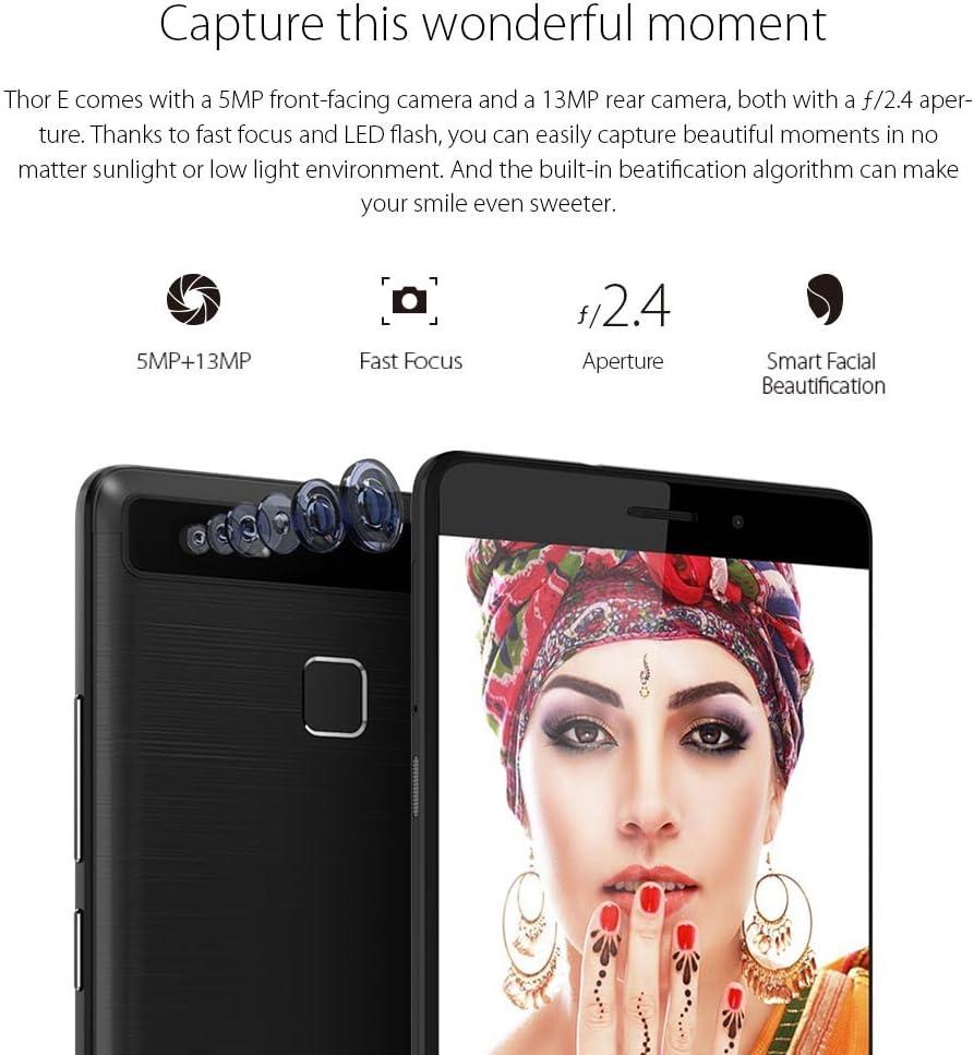 Vernee Thor E Smartphone 4G LTE 3GB RAM 16GB ROM Batería 5020mAh Android 7.0 MTK6753 1,3GHz Octa Core 5,0 Pulgadas Cámara 13MP & 5MP Dual SIM Quick Charge 9V 2A, Gris: Amazon.es: