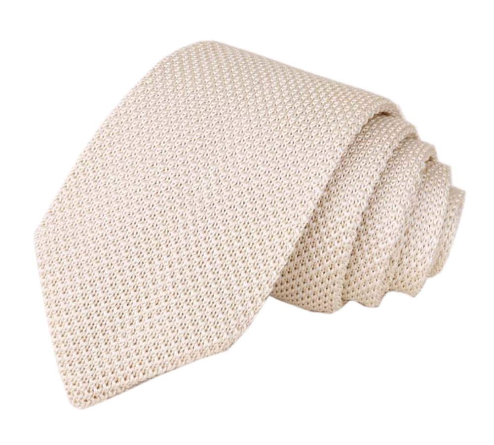 Men Boys Beige Knitted Tie Trendy Suit Summer Wedding Formal Solid Cream Necktie