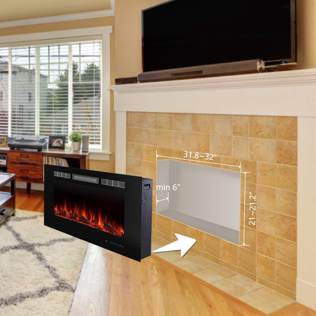 Valuxhome 36 Electric Fireplace – in Wall Recessed – 750W 1500W Heater 62 F-86 F Thermostat with Timer – Touch Screen Remote Control – Logset Crystal Option – 3 Flame Colors – Black