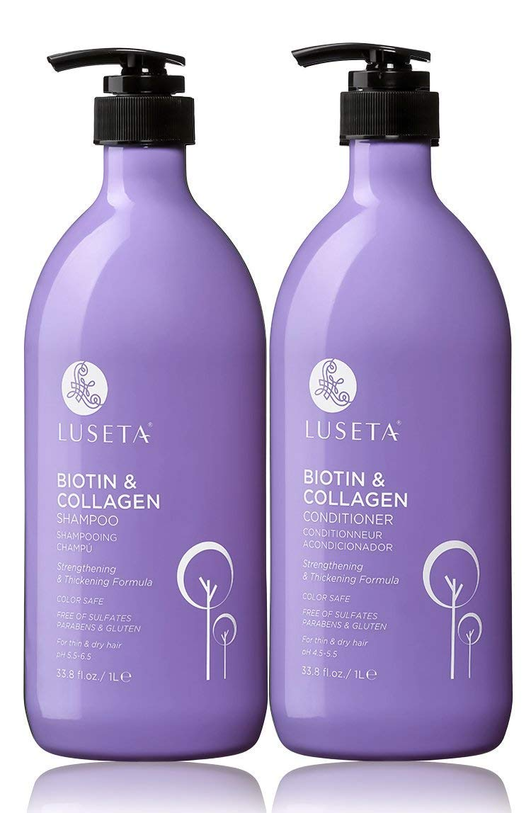 Luseta Biotin & Collagen Shampoo & Conditioner Set 2 x 33.8oz - Thickening for Hair Loss & Fast Hair Growth - Infused with Argan Oil to Repair Damaged Dry Hair - Sulfate Free Paraben Free by L LUSETA