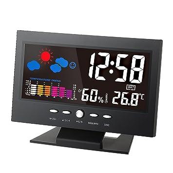 KKmoon ° C / ° F Lcd Digital Temperatura Humedad Metro Clima Reloj Termómetro Higrómetro Calendario Tendencia Pronóstico Activado Por Vioce Iluminar Desde ...