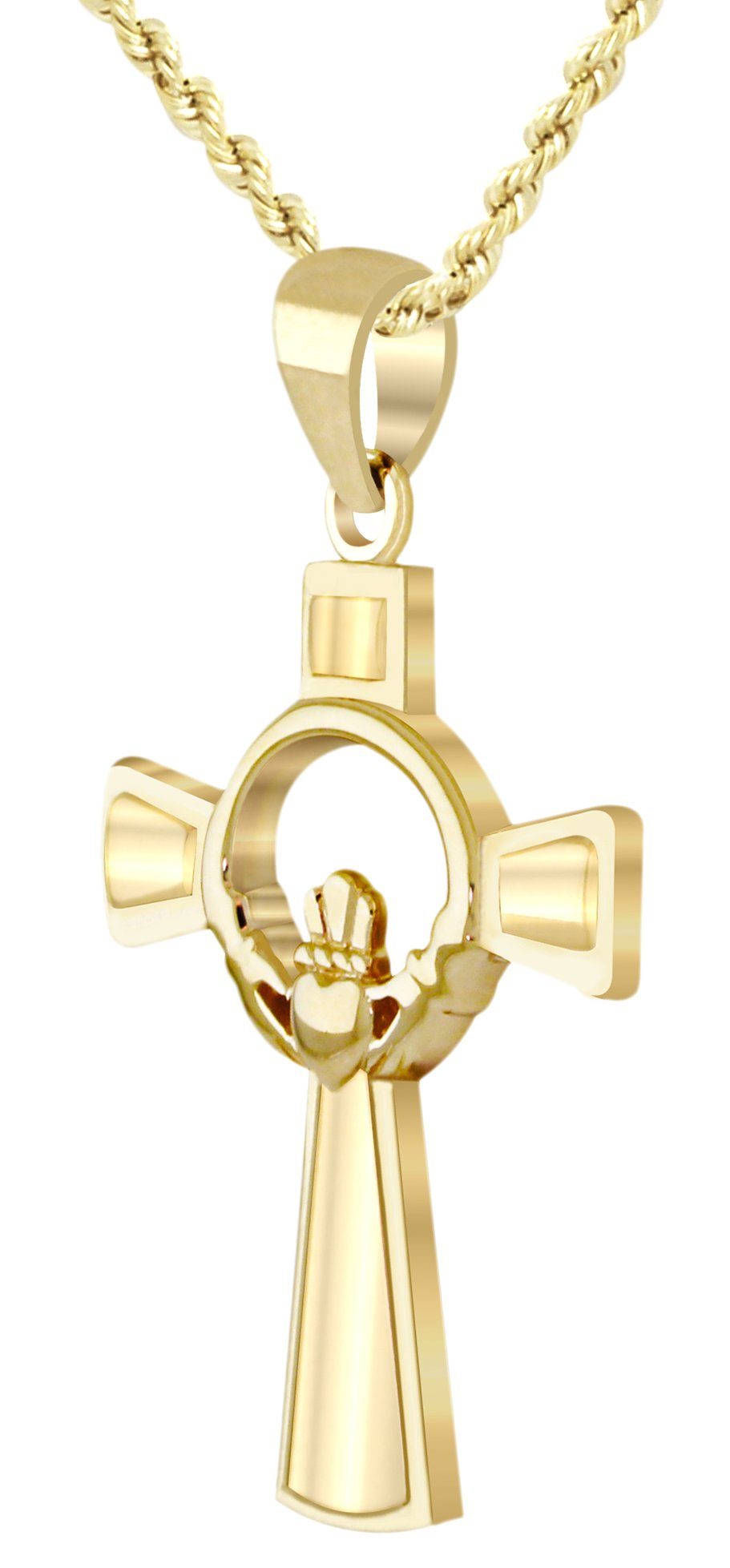 Men's 1.125in Solid 10k Yellow Gold Irish Celtic Claddagh Cross Pendant 2.0mm Rope Necklace, 18in