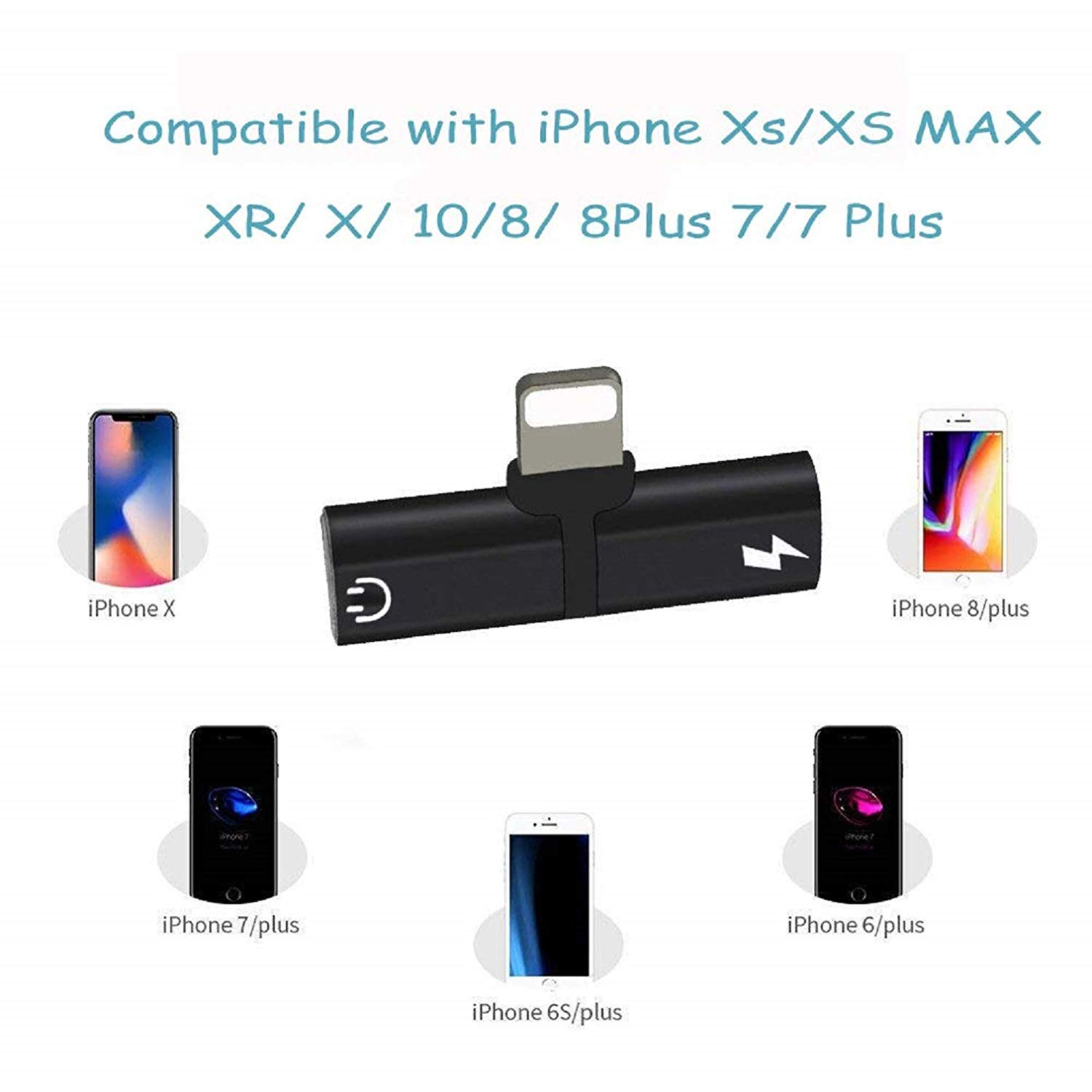 Headphone Adapter for iPhone X//XS//XS MAX//XR//8// 8Plus// 7//7 Plus Headset Adaptor Splitter Earphone Connector Convertor 2 in 1 Mini Accessories Cables Call Charge Music Wire Control iOS System.