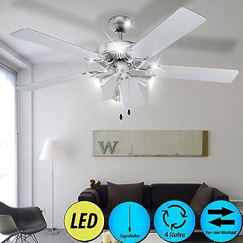 etc shop AEG Ventilateur de Plafond Radiateur Interrupteur à Tirette Luminaire Ventilateur Ensemble Comprenant 3 Ampoules LED 3 Watt