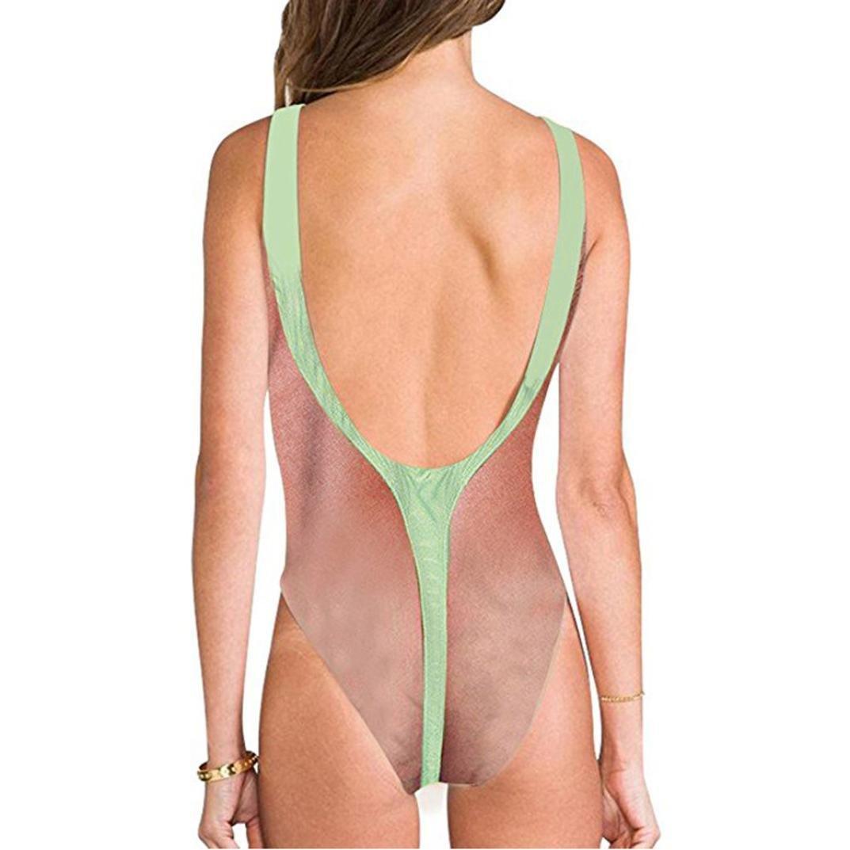Limsea Women Sexy High Cut One Piece Swimsuit Funny Bathing Suit Monokini Swimwear White by Limsea Bikinis (Image #2)