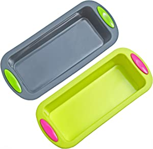 """Megrocle Silicone Bread and Loaf Pan Set of 2, Nonstick Premium Food Grade Silicone Toast Pan Baking Pans, Oven-Microwave-Dishwasher Safe BPA Free Silicone Bakeware Cake Molds, 8.7""""x4""""x2.4"""" Inside"""