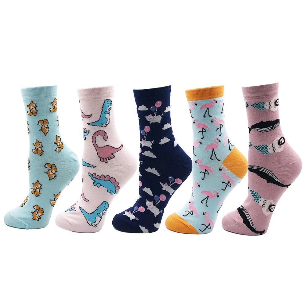 VPM Cartoon Animal&Fruit&Food Women Crew Socks Gift Box 5 Pairs/Lot US 4-7 (802 opp)
