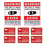"""VideoSecu 8 Pack Home CCTV Surveillance Security Camera Video Warning Stickers Signs 2 of 11.5""""x8.3"""", 6 of 3""""x2"""" Security Alarm Decals 1RO"""