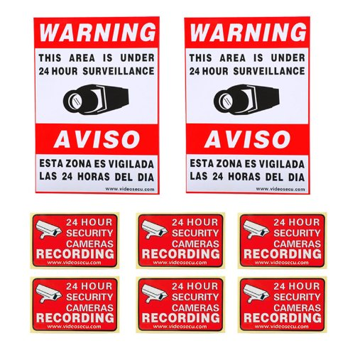 "VideoSecu 8 Pack Home CCTV Surveillance Security Camera Video Warning Stickers Signs 2 of 11.5""x8.3"", 6 of 3""x2"" Security Alarm Decals 1RO"
