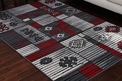 - Generations Collection 100% Olefin Contemporary Grey Silver Red White Modern Squares Area Olefin Rug Rugs 8053Silver 4'2 x 5'3 4x6