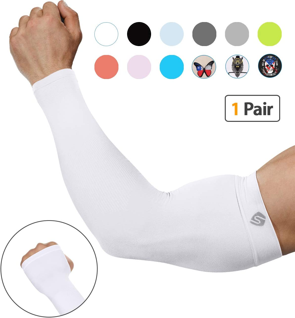 UV Protection-1 Pair SHINYMOD Arm Sleeves UV Protection Cooling Sleeves for Men and Women Original Silk-Screen Pattern Sports Compression Sleeves for Baseball Basketball Football Cycling with UPF 50