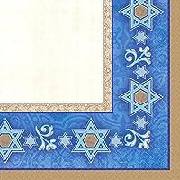 Amscan Deferential Beverage Napkins Jewish Celebrations Party Supplies 5 x 5 Gold/Blue/Ivory