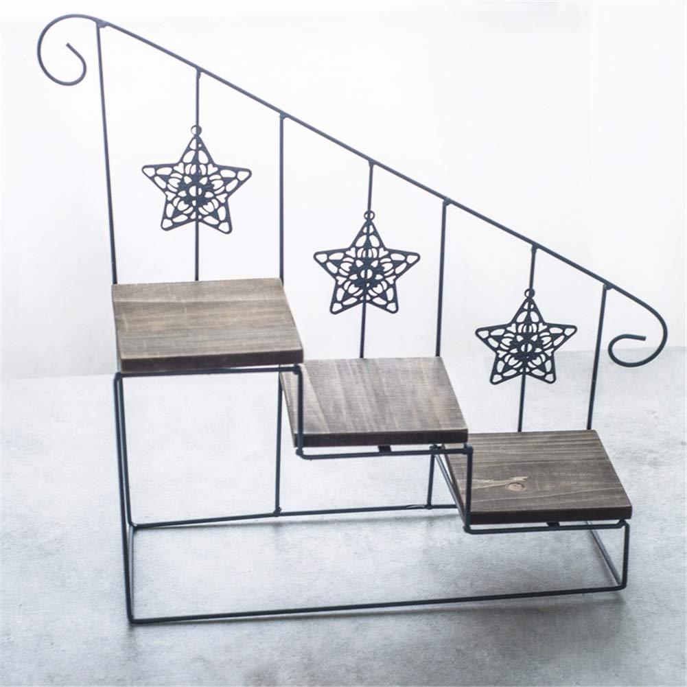 Exing Flower Stand, Retro Iron Art Ladder Shelf Wall Piccoli Ornamenti in Vaso Scaffale Home Decorazione della Parete Multi-Strato Vaso per Fiori