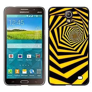 TopCaseStore / la caja del caucho duro de la cubierta de protección de la piel - Black Yellow Hexahedron Swirl - Samsung Galaxy Mega 2