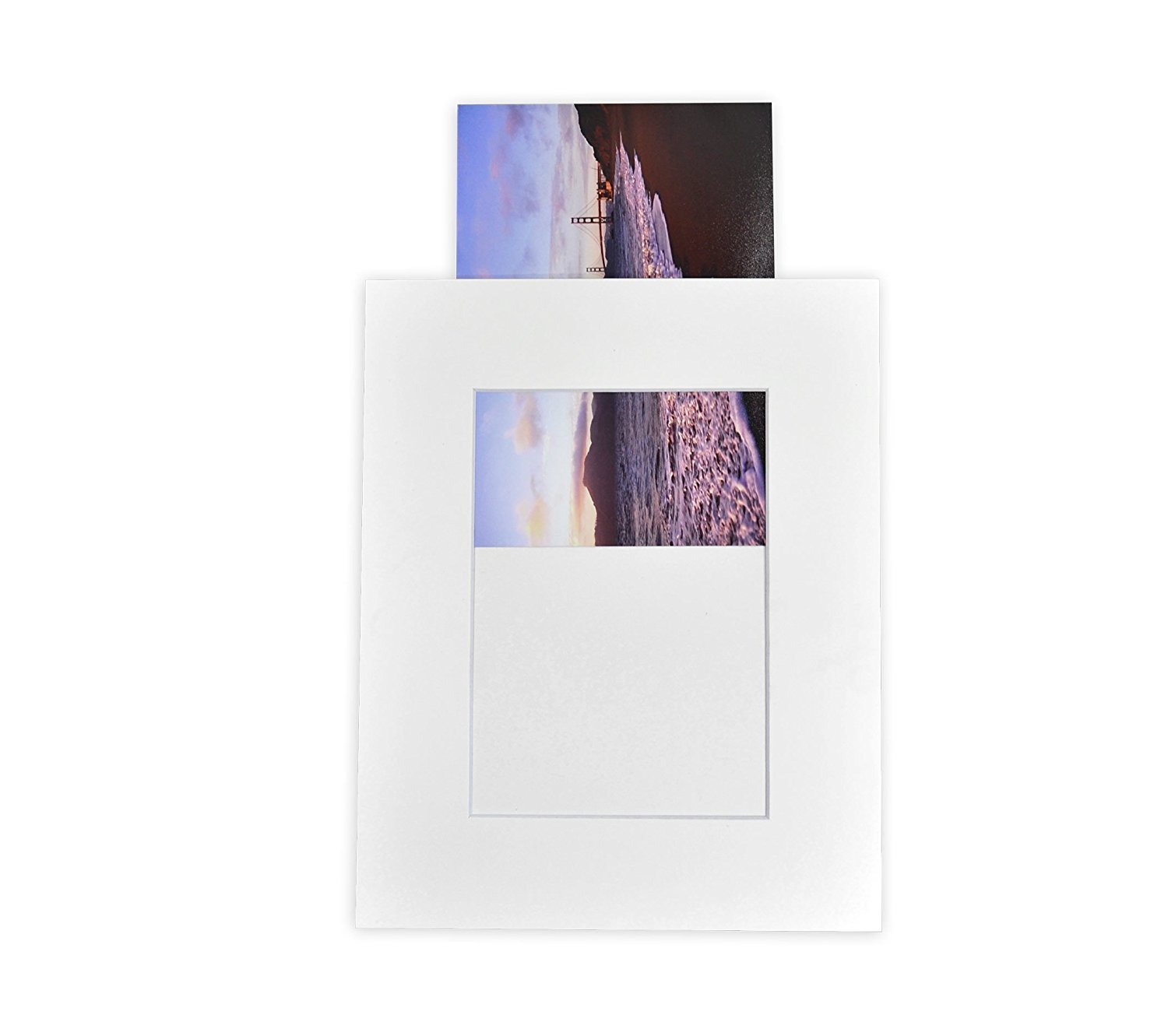 Golden State Art Pack of 10 White 8x10 Slip-in Pre-adhesive Photo Mat for 5x7 picture with backing board pre-assembled, Includes 10 clear bags