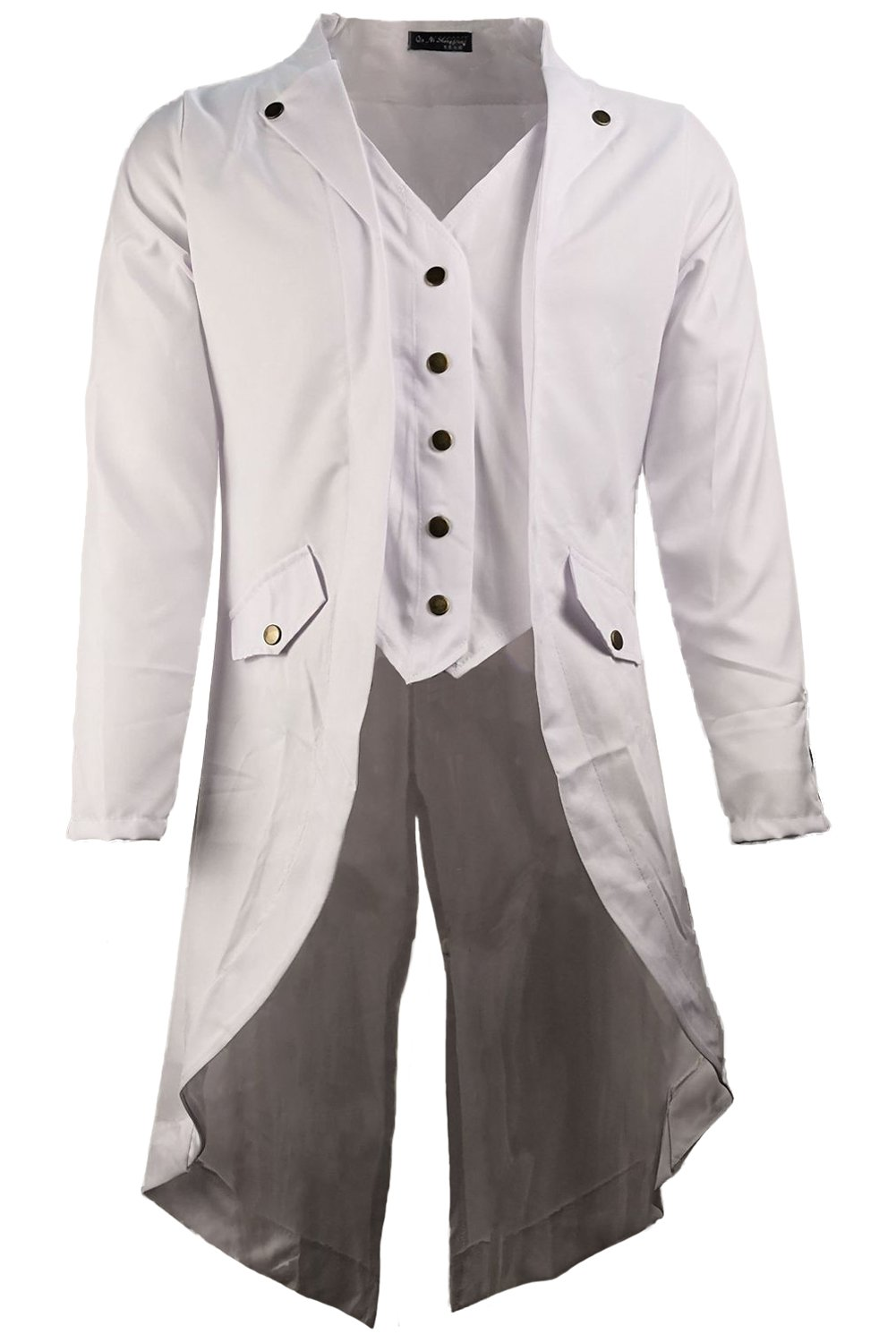Mutrade Men Retro Solid Color Long Sleeve Steampunk Uniforms Gothic Tailcoat Jacket,XXX-Large
