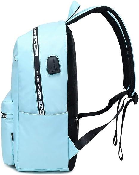 Acmebon Mochila Universitaria Clásica de Chica Mochila de Color Liso Bolso Simple y Casual Azul Claro: Amazon.es: Equipaje