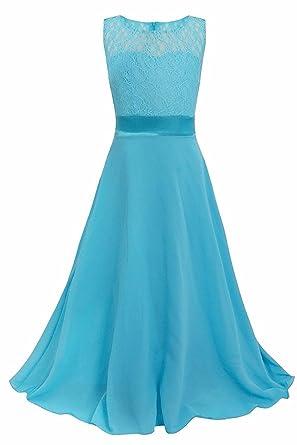 071a277bc96a FREEFLY Age 7-14 Girls Lace Long Dress Chiffon Sleeveless Wedding ...